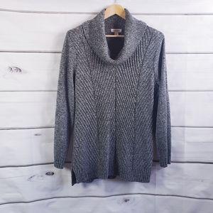 Calvin Klein Heathered Black Cowl Tunic Sweater
